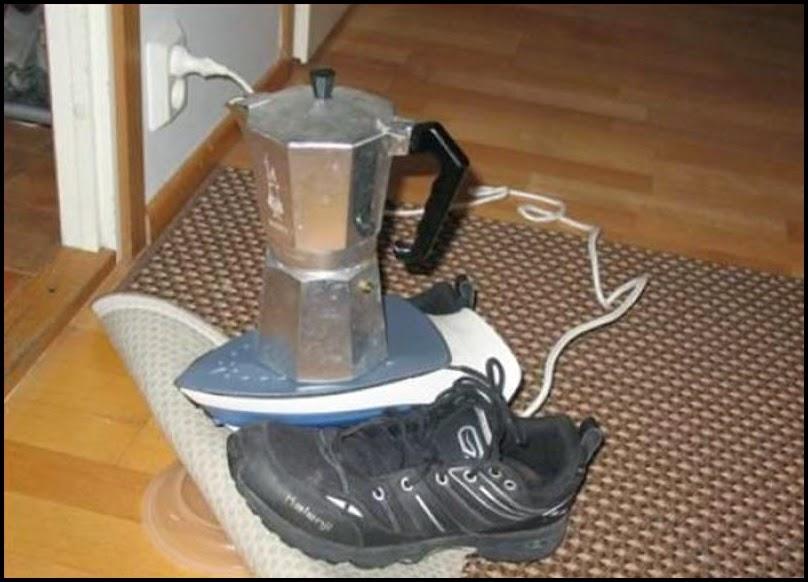 Cafetera calentandose sobre una plancha-