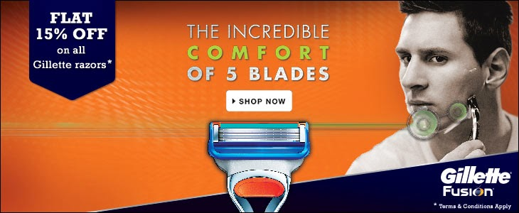 Flat 15% off on all Gillette razors