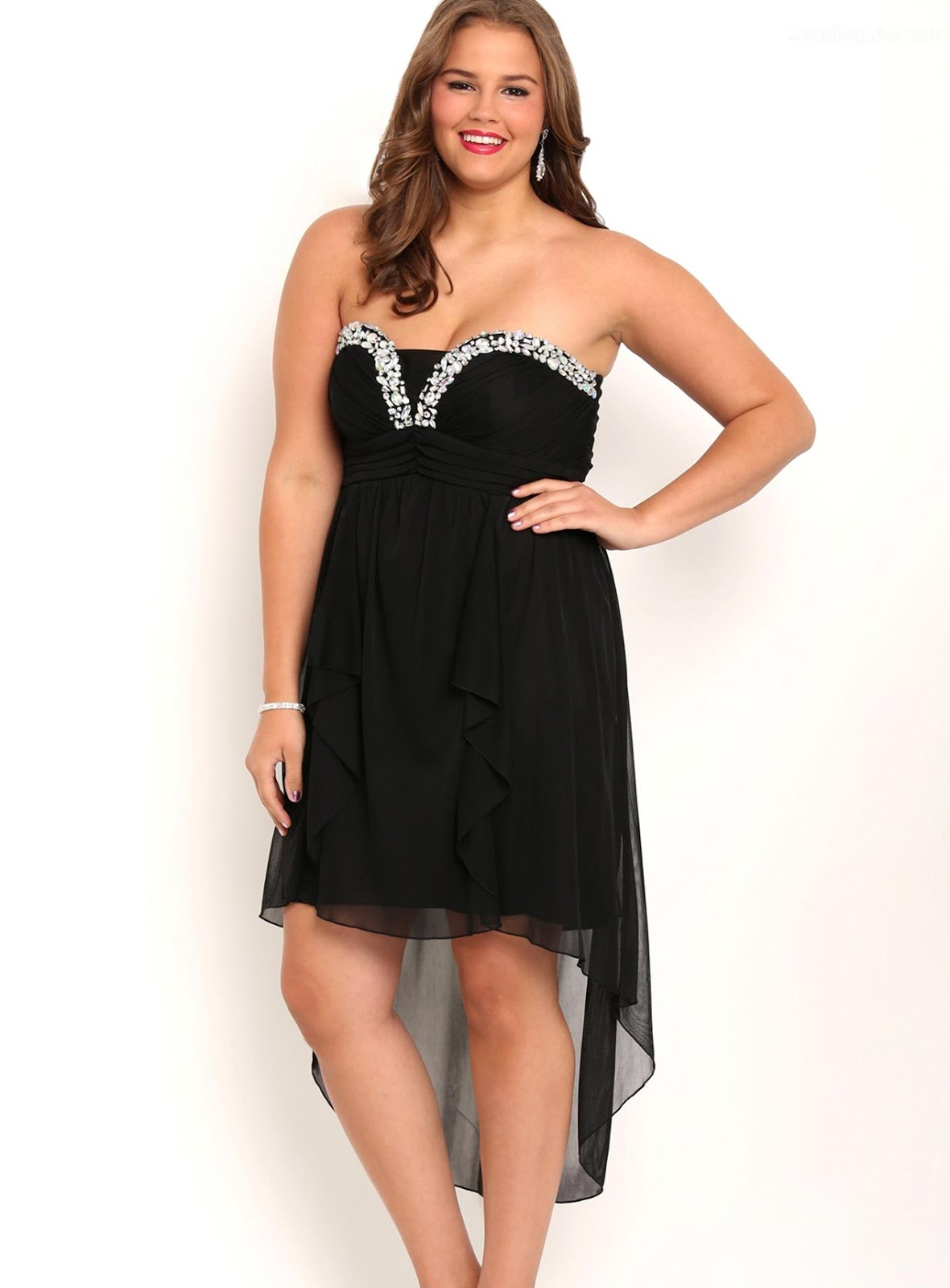 Plus size black prom dress