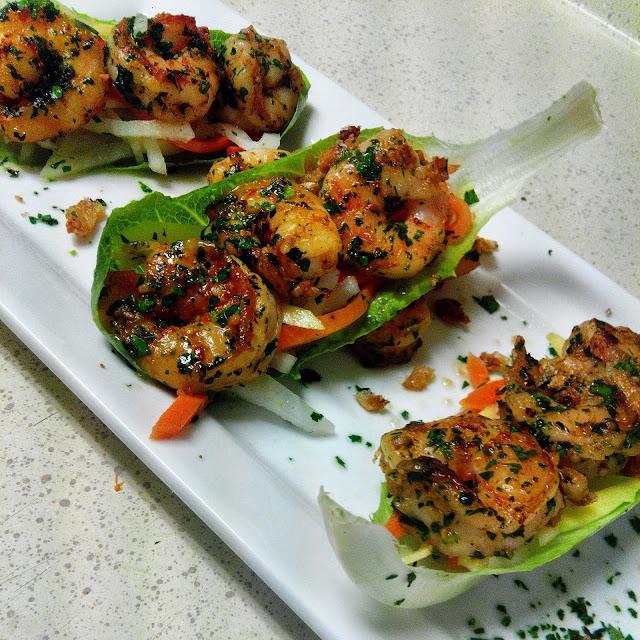 Tropical Shrimp Lettuce Boats