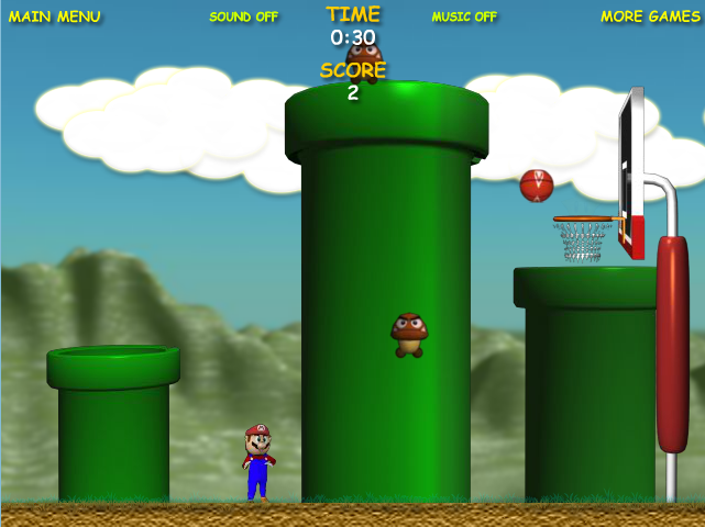 Help Mario play basketball, you have to score as many times as you can. Use your mouse to throw.