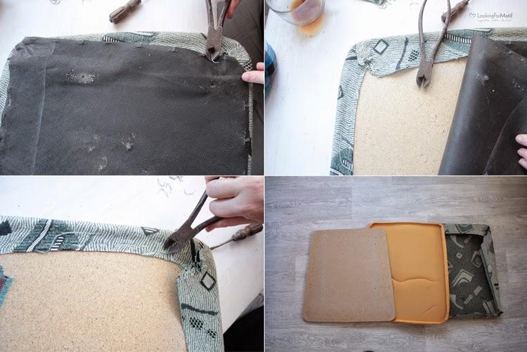 DIY, zrób to sam, przemiana krzesła, zmaina tapicerki na krześle, drewniane krzesło z szarym obiciem - tutorial, zdejmujemy starą tapicerkę