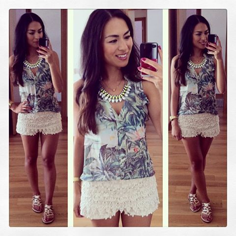 daniela pires, fashion blogger, streetstyle, trend, summer outfit looks, denim shorts, lace top