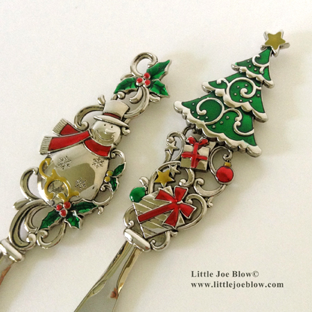 Holiday | Christmas Cheese Butter Knives | Snowman, Christmas Tree - sold on http://littlejoeblow.com/HOLIDAY-knives.html by Little Joe Blow Ind.
