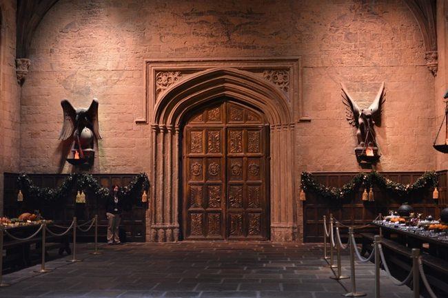 Great Hall at Hogwarts in the snow Warner Bros Studio Tour London