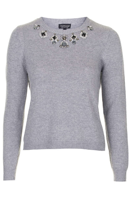 jewelled grey jumper, jewelled jumper, embellished jumper,
