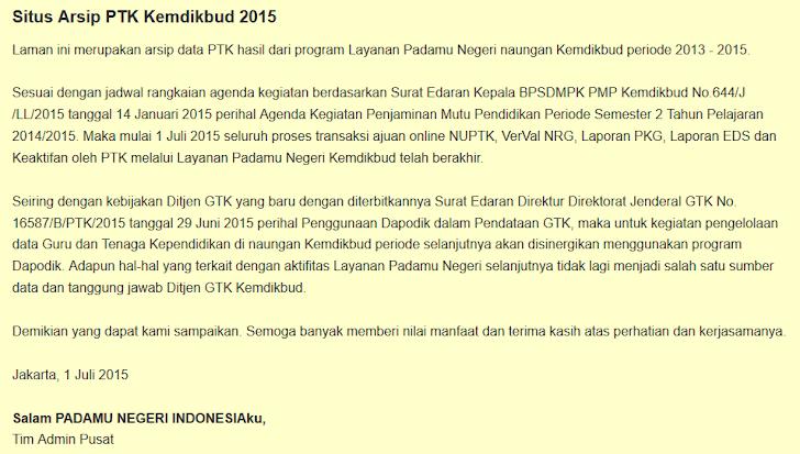 Informasi Terkait Berakhirnya Layanan Padamu Negeri Melalui Situs Arsip Padamu Negeri 2015
