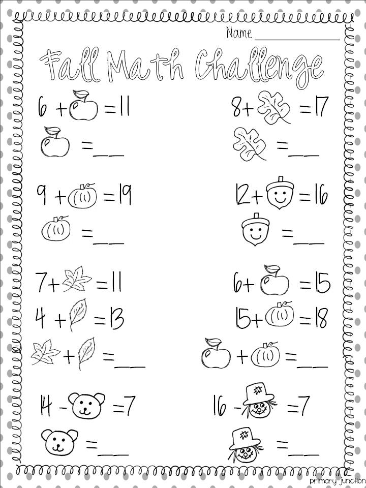 fall math worksheet