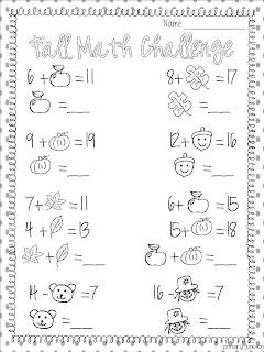 math worksheet : fall themed math worksheets first grade  worksheets on study  : Fall Math Worksheet