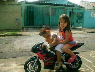 funny picture: kids on mini motor