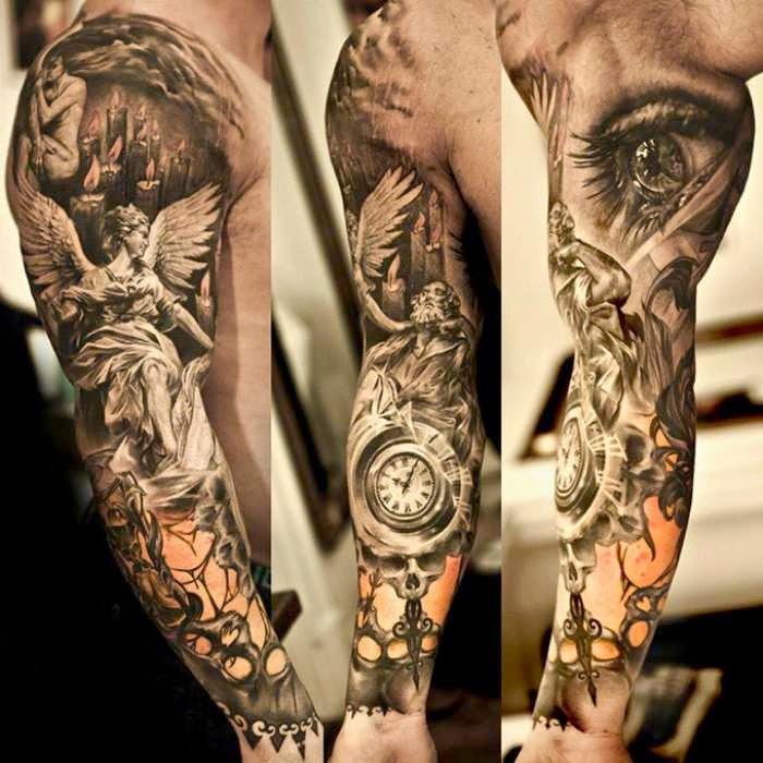 Tatuaje realista brazo ángel ojo blanco negro