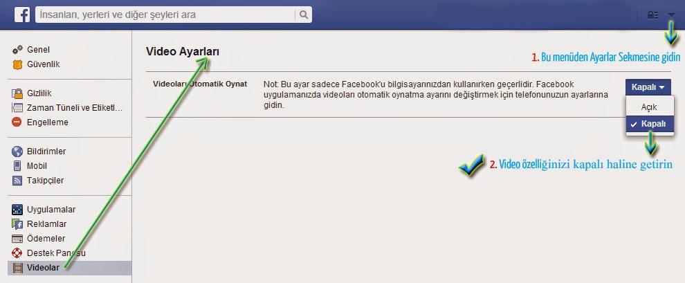 Facebook Otomatik Video Oynatma Nasıl Kapatılır Resimli Anlatım