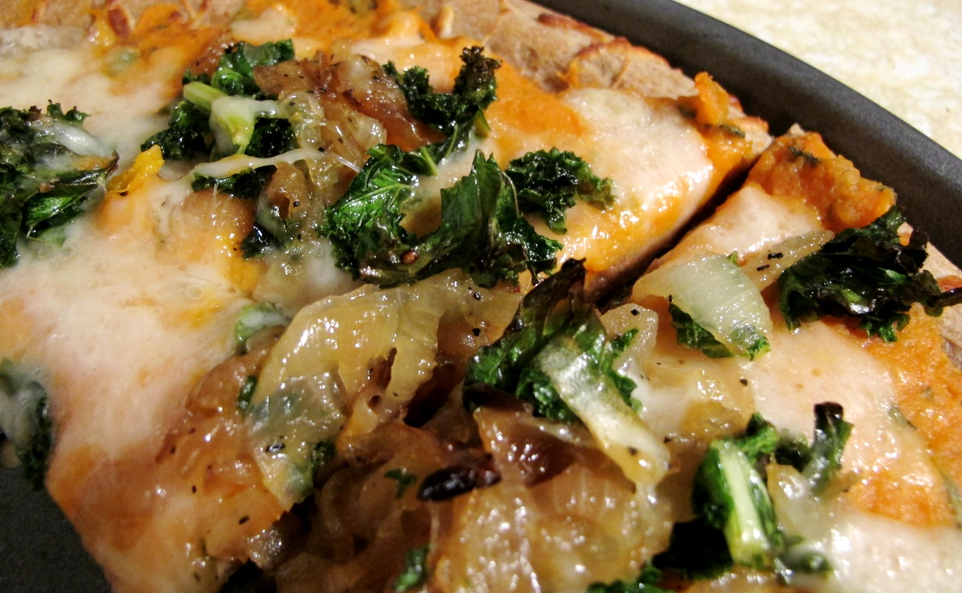 ... New Recipe: Sweet Potato Pizza with Kale and Caramelized Onions