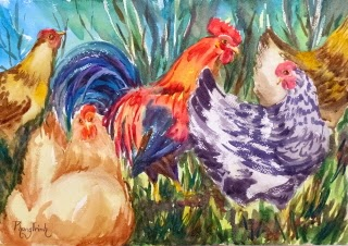 Wonderful Farm Animal Watercolor Painting on paper  size 29.5 x 42 cm