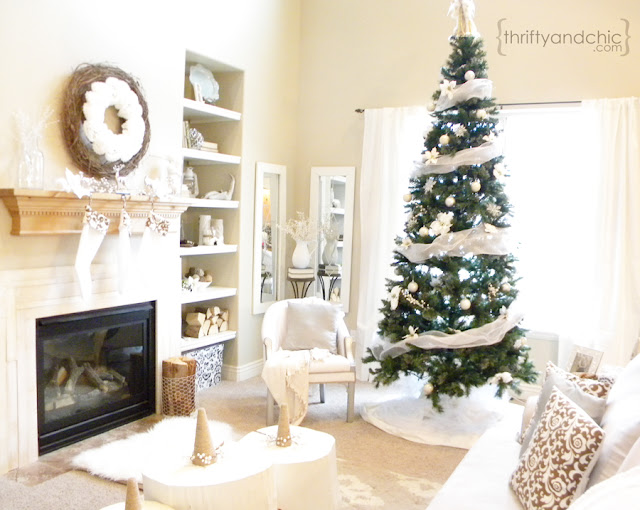 White Christmas Living Room Decor