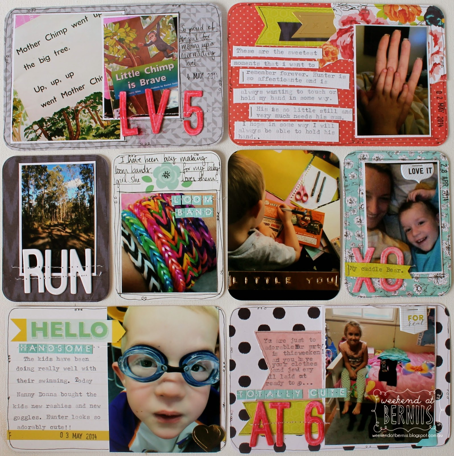Project life spread by Bernii Miller for Scrappy Canary using the December Rainbow Connection kit.