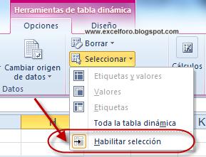 Seleccionar datos en una Tabla dinámica: La opción Habilitar selección.