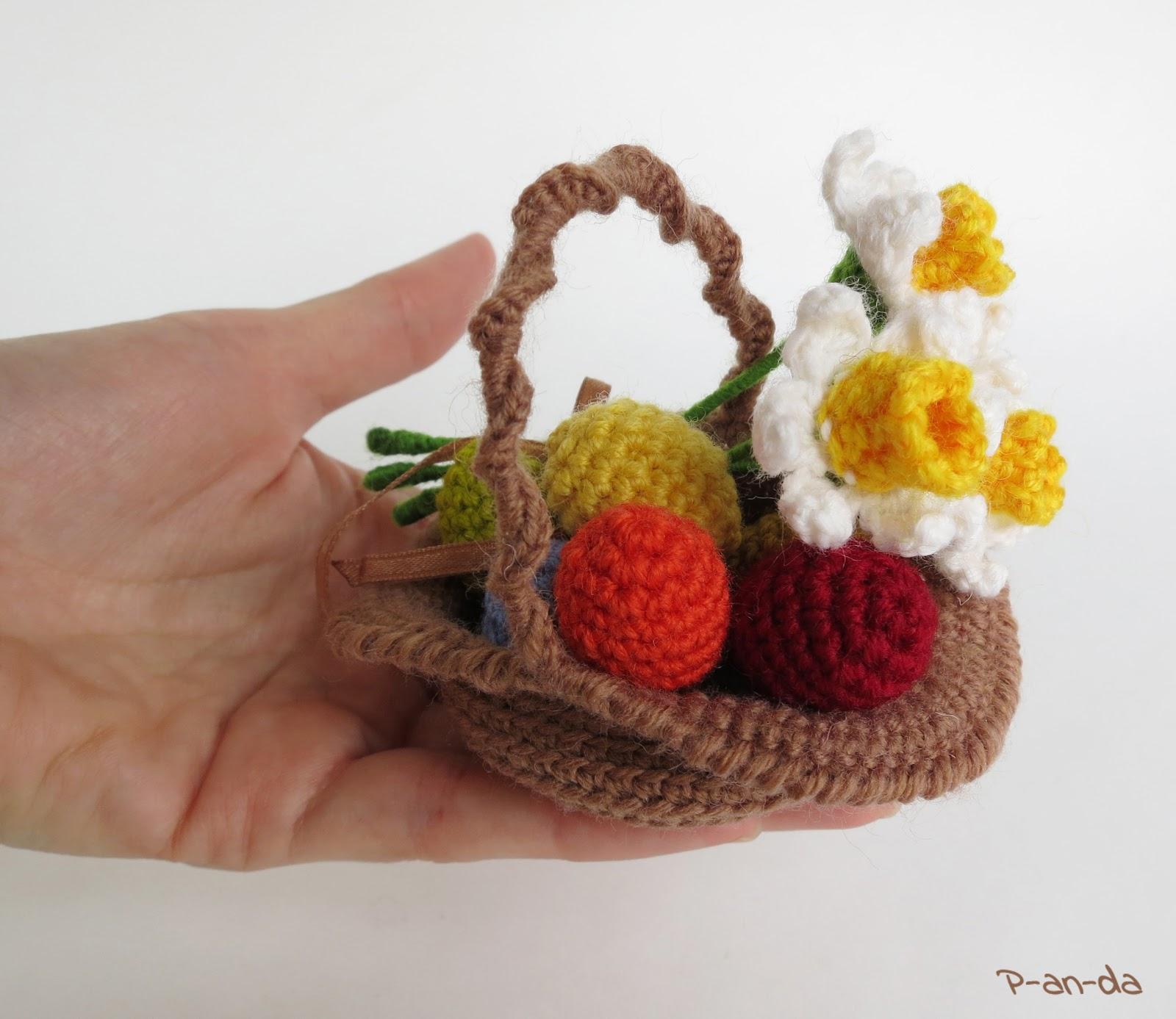 Вязание цветы в корзине