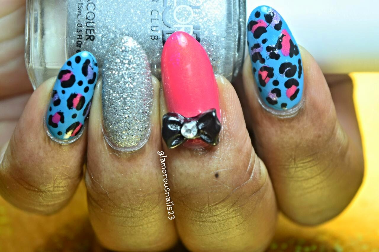 Leopard Print with Bow & Accent Silver Glitter Nail