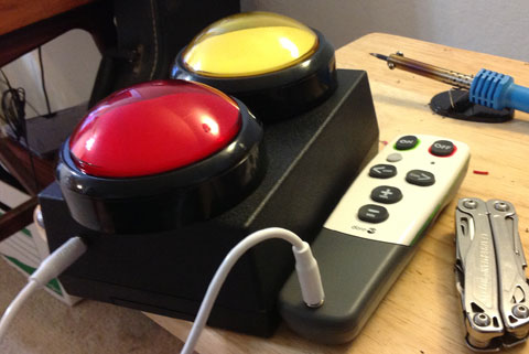Large push button switches and switch adapted Doro remote control.