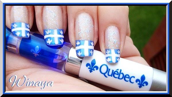 Ongles bleu et blanc pour la Saint-Jean Fête du Québec