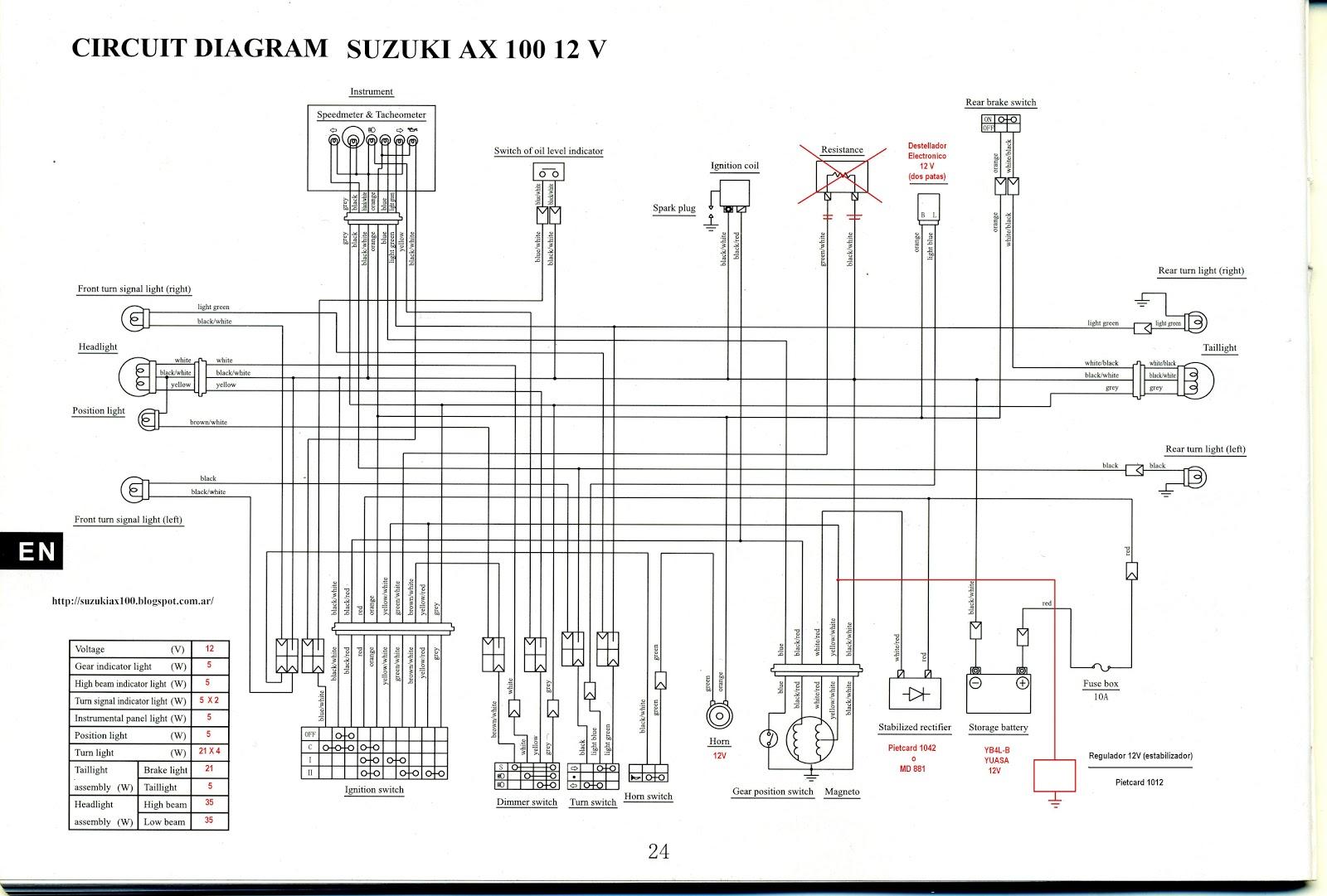 suzuki ax100 pasi u00f3n por 2t  diagrama del circuito electrico 12v suzuki ax 100  hd