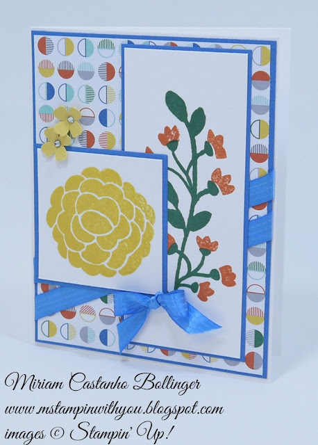 Miriam Castanho Bollinger, #mstampinwithyou, stampin up, demonstrator, mm, birthday card, schoolhouse dsp, bountiful border, itty bitty accents punch, su