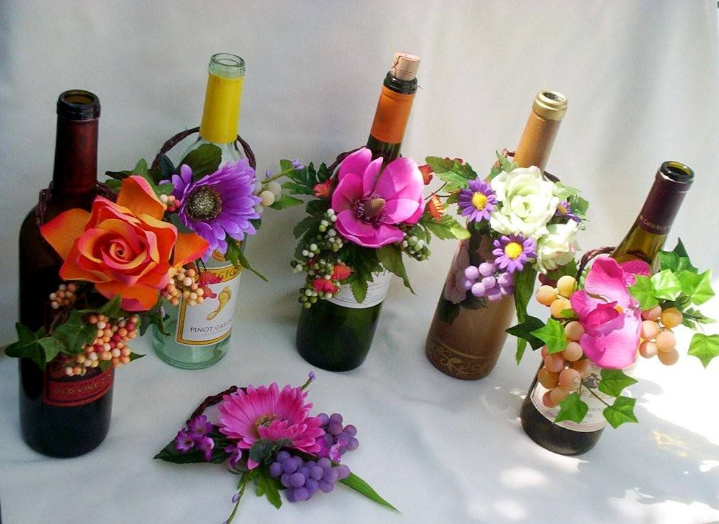 Wow bridal news tropical colors on stems Wine bottle wedding centerpieces