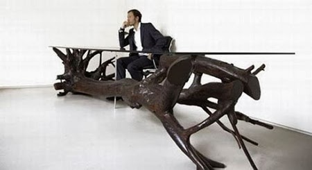 Mesa con Arbol Recuperado, Muebles Ecoresponsables