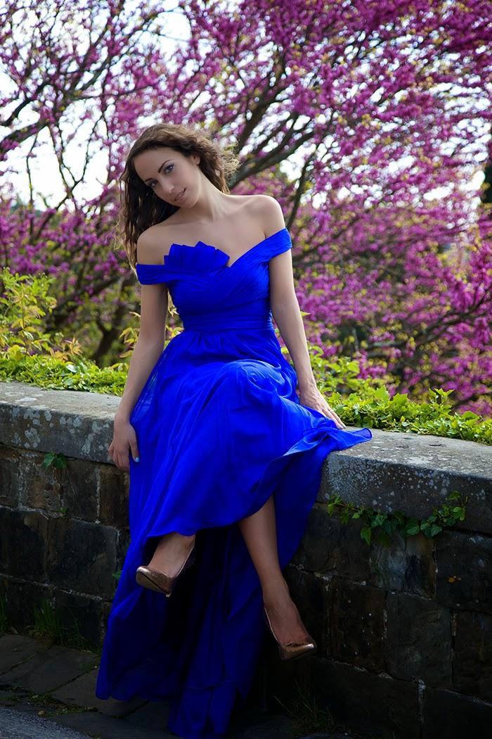 abito lungo blu