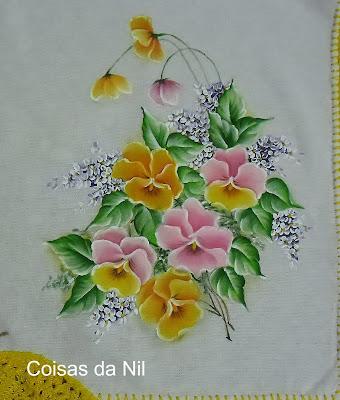 """""""psno de cops com pintura de flores e croche, amor perfeito"""""""