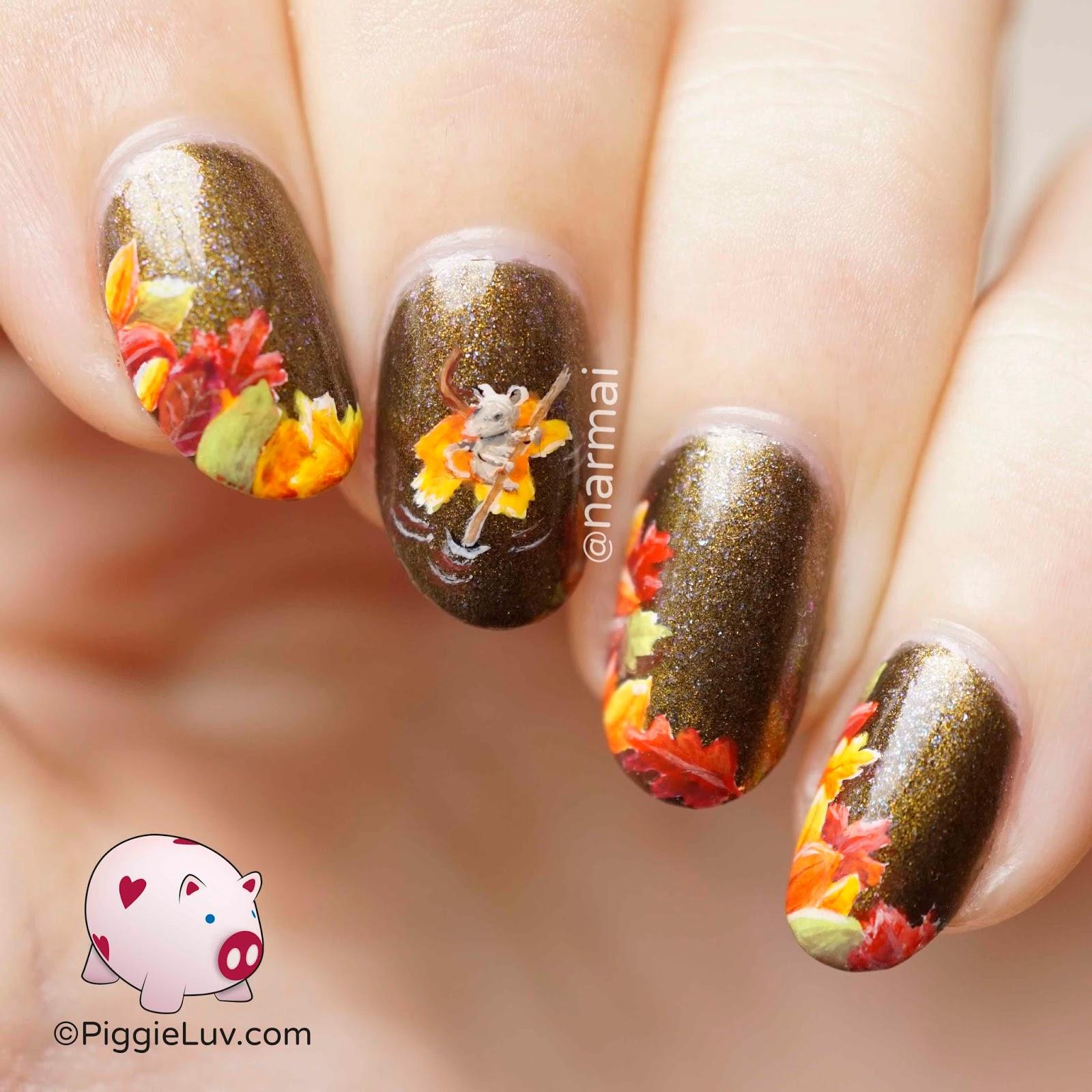 Осенний маникюр с листьями фото