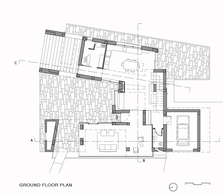 Ground floor plan of Modern villa Di Gioia by Pedone Working