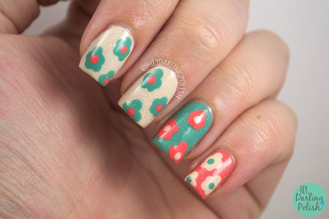 nails, nail art, nail polish, polish, flowers, tri polish challenge, hey darling polish
