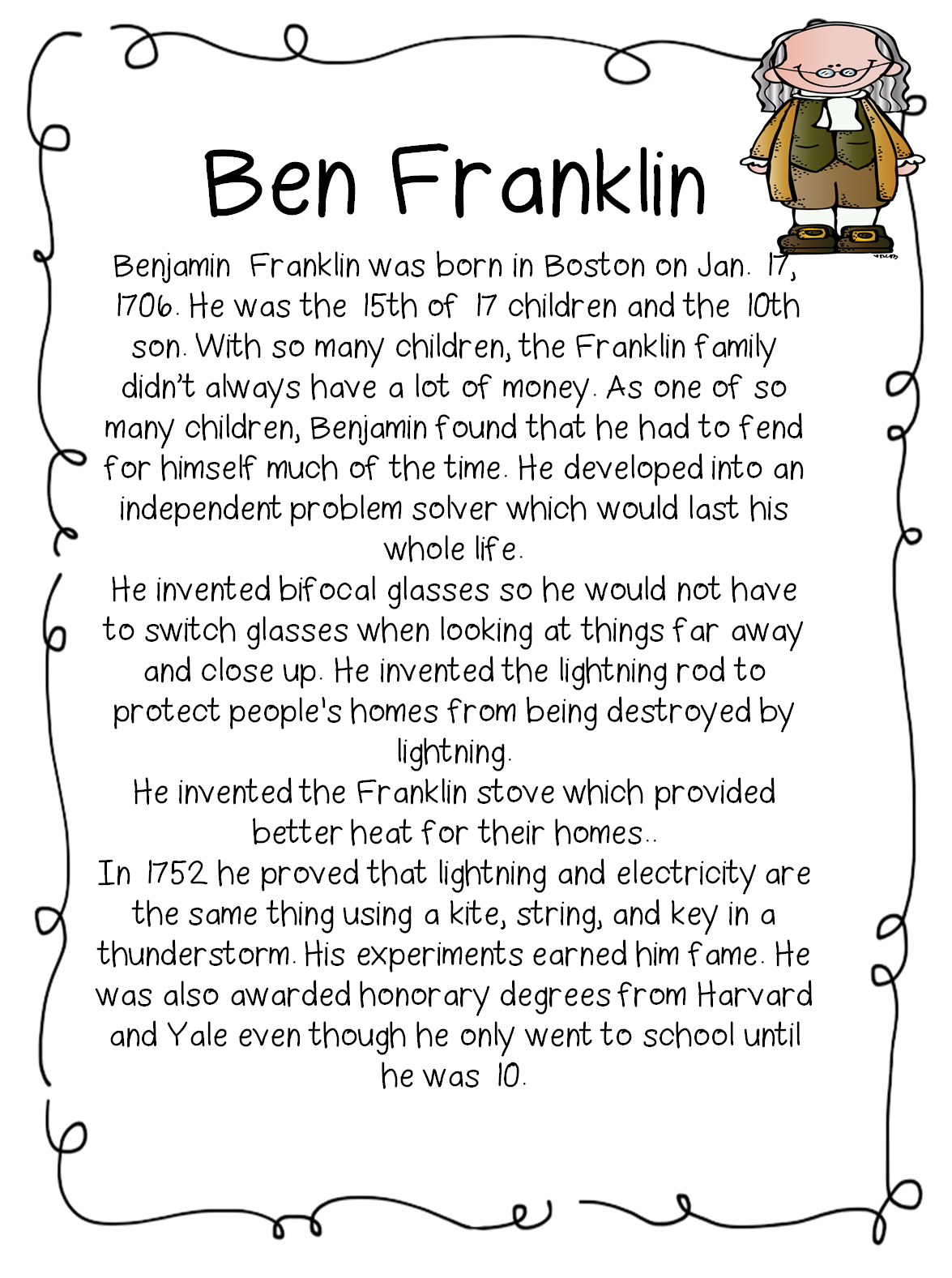Benjamin Franklin Worksheets First Grade