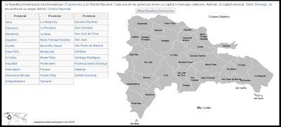 Mapa de Republica Dominicana, organización territorial