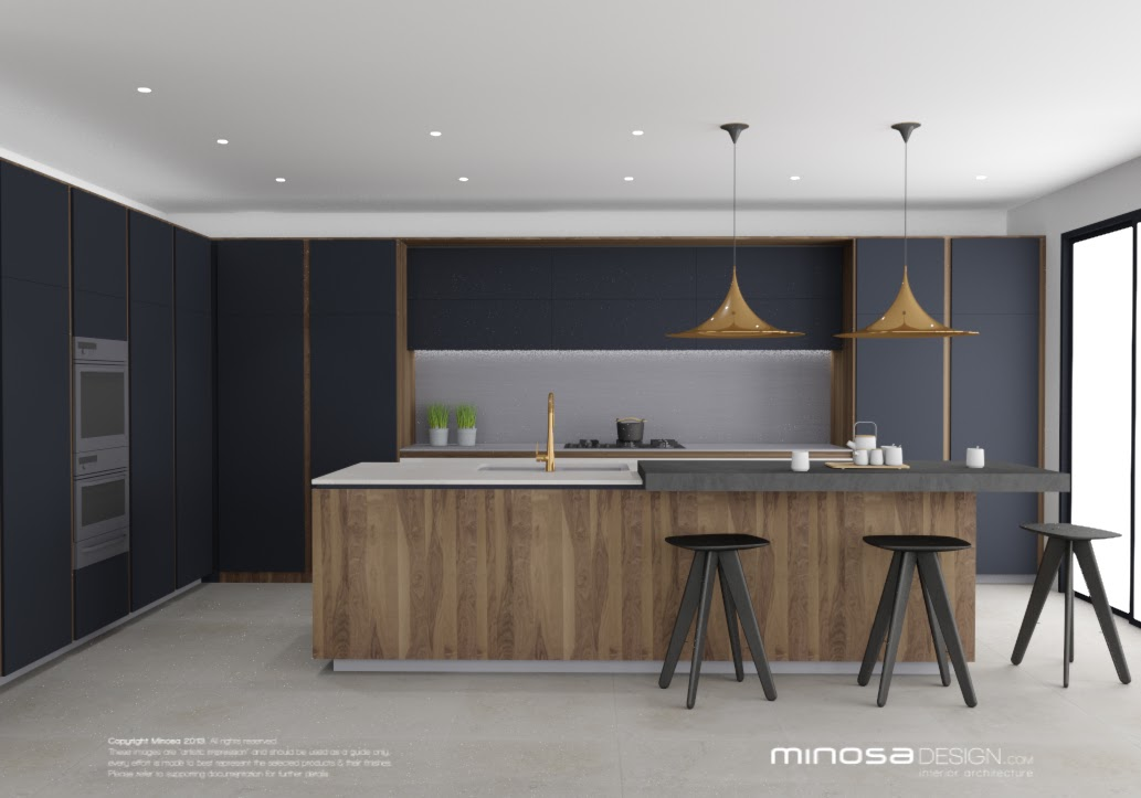 The Use Of Walnut Timber, White Solid Surface, Stainless Steel, Charcoal U0026  Copper Is Such A Wonderful Combination.