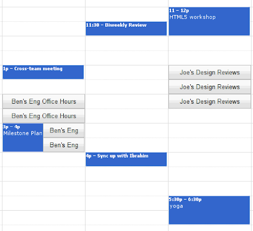google slots calendar