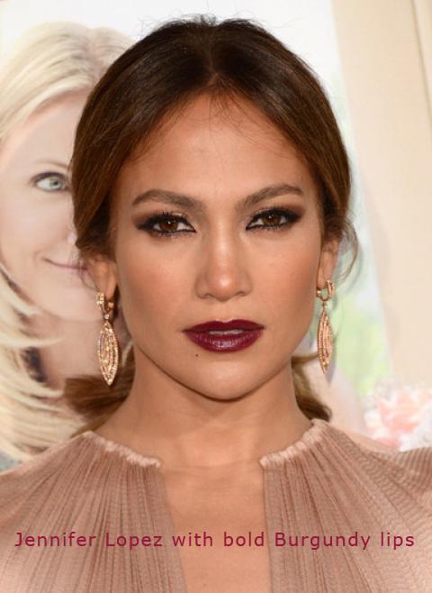 Jennifer Lopez with bold Burgundy lips