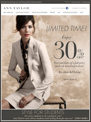 Click to view this Feb. 10, 2011 Ann Taylor email full-sized