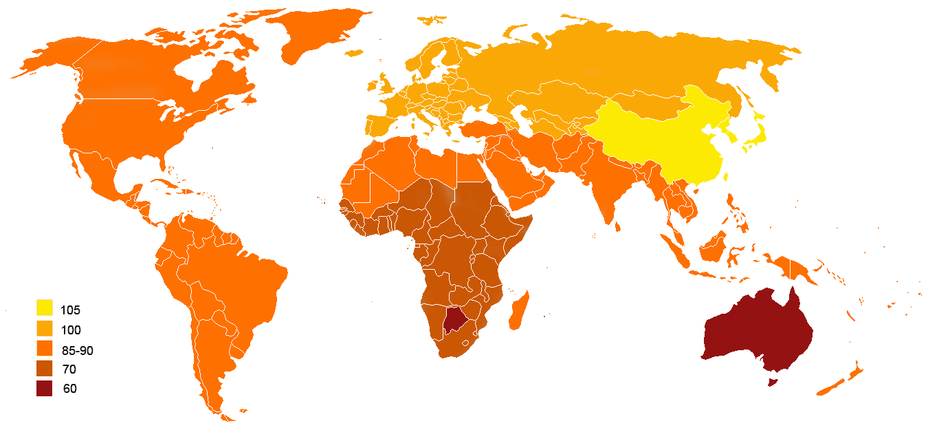 IQ Map of World. Known IQ of Native peoples of world.: IQ ...