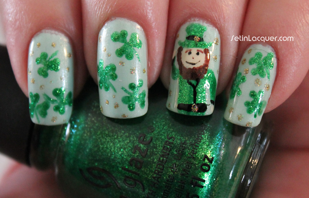 St Patrick's Day nail art - Leprechaun And Shamrocks - A Little Irish Luck - Set In Lacquer