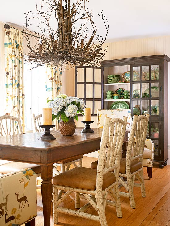 Rustic ventures twig chandeliers for Better homes and gardens dining room ideas