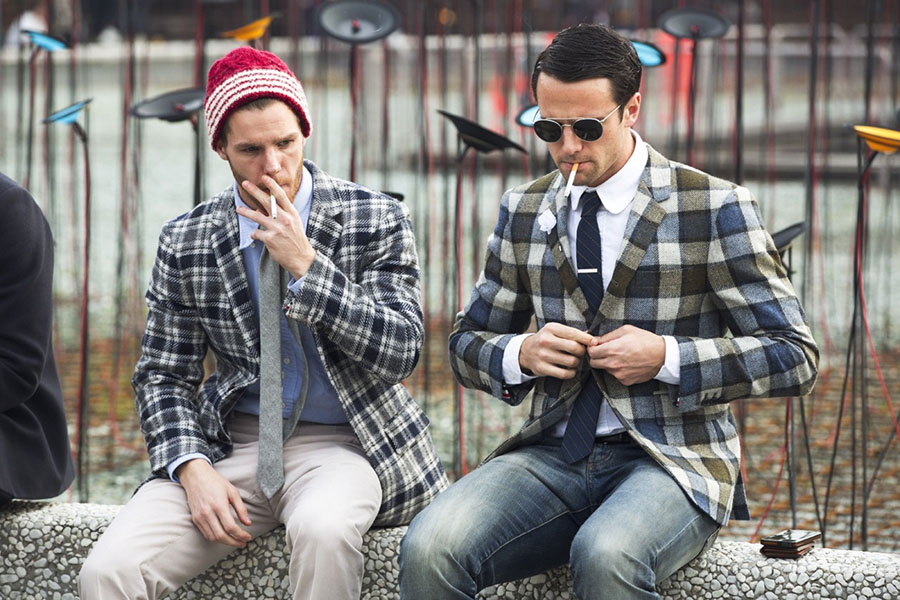 Plaid men's jacket street style