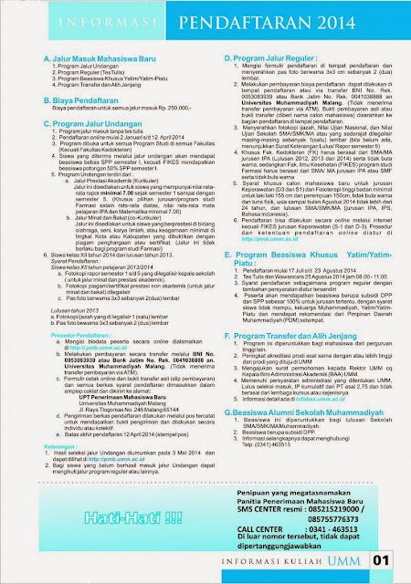 Pendaftaran Mahasiswa Baru Universitas Muhammadiyah Malang TA 2014/2015