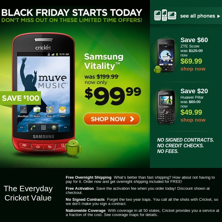 cricket online black friday sale starts today half price android phones prepaid phone news. Black Bedroom Furniture Sets. Home Design Ideas