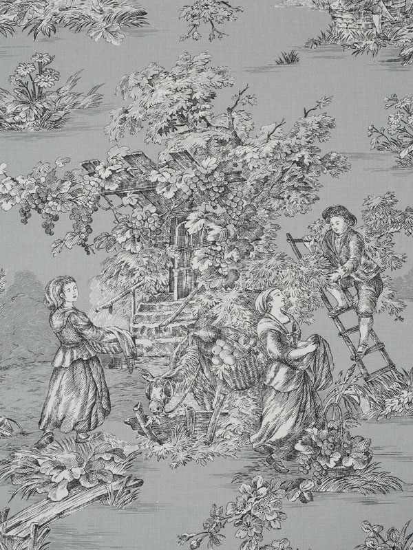 black and white toile de jouy wallpaper