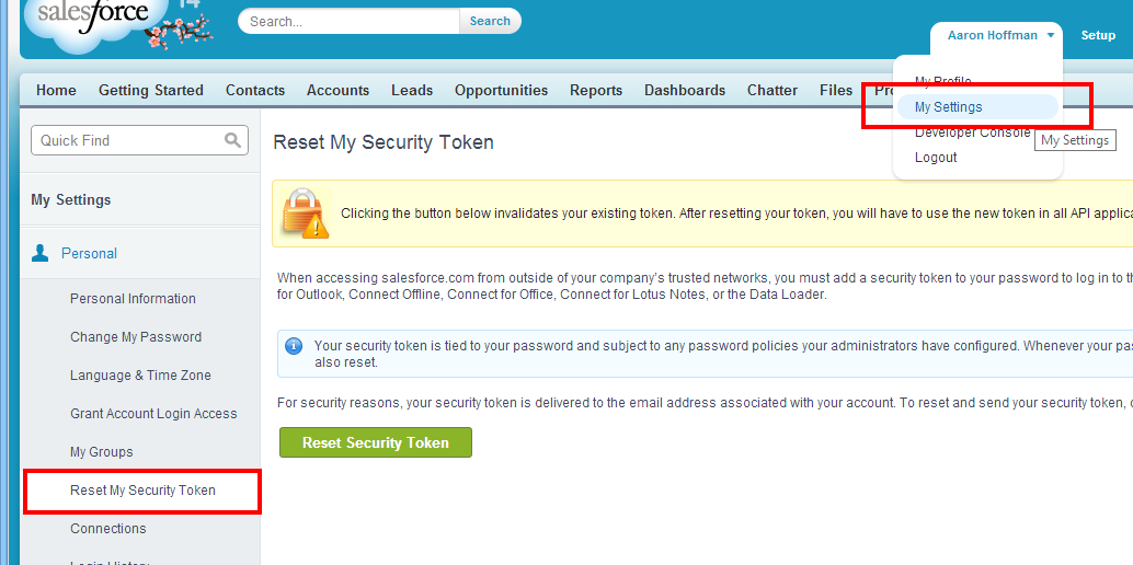 how to use security token salesforce