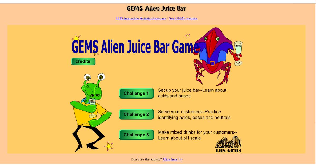 Activity 1: GEMS Alien Juice Bar | Acids and Bases