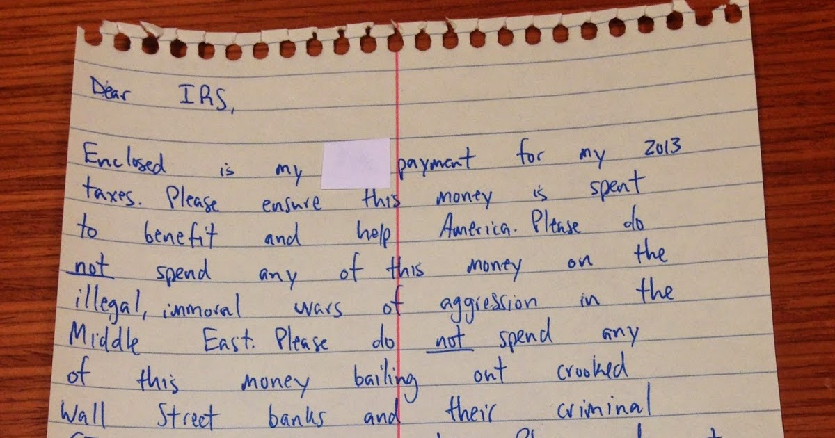 writing a letter to the irs